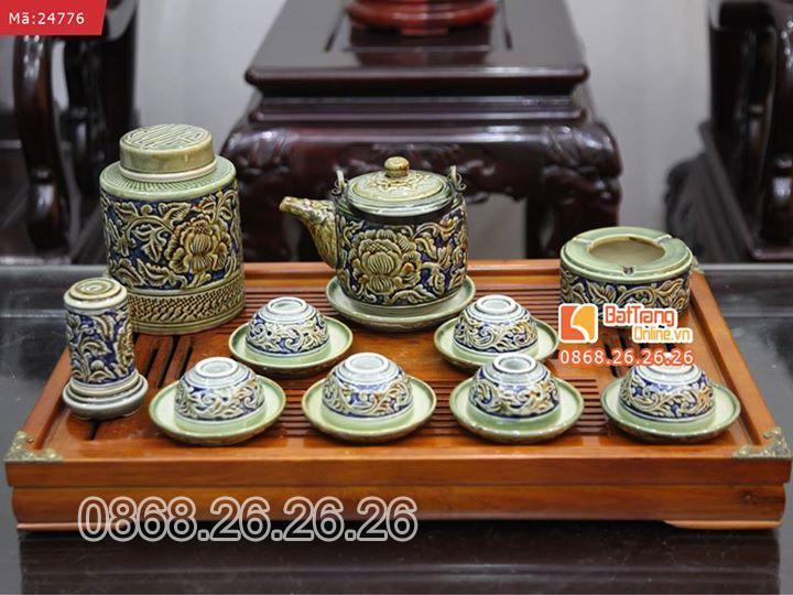 Bộ ấm trà và phụ kiện khắc nổi hoa phù dung xanh và khay