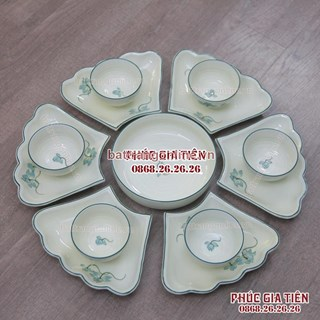 Bộ đồ ăn phú quý vẽ hoa sen xanh