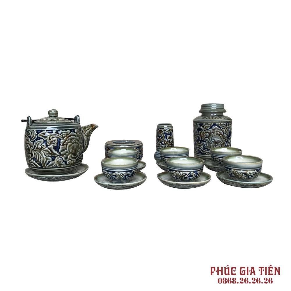 Bộ ấm trà và phụ kiện khắc nổi hoa phù dung xanh