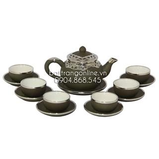 Bộ ấm pha trà dáng chuông - xanh rêu - bọc đồng nghệ nhân