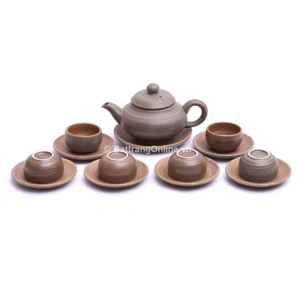 Bộ ấm chén pha trà dáng Nhật, màu rêu