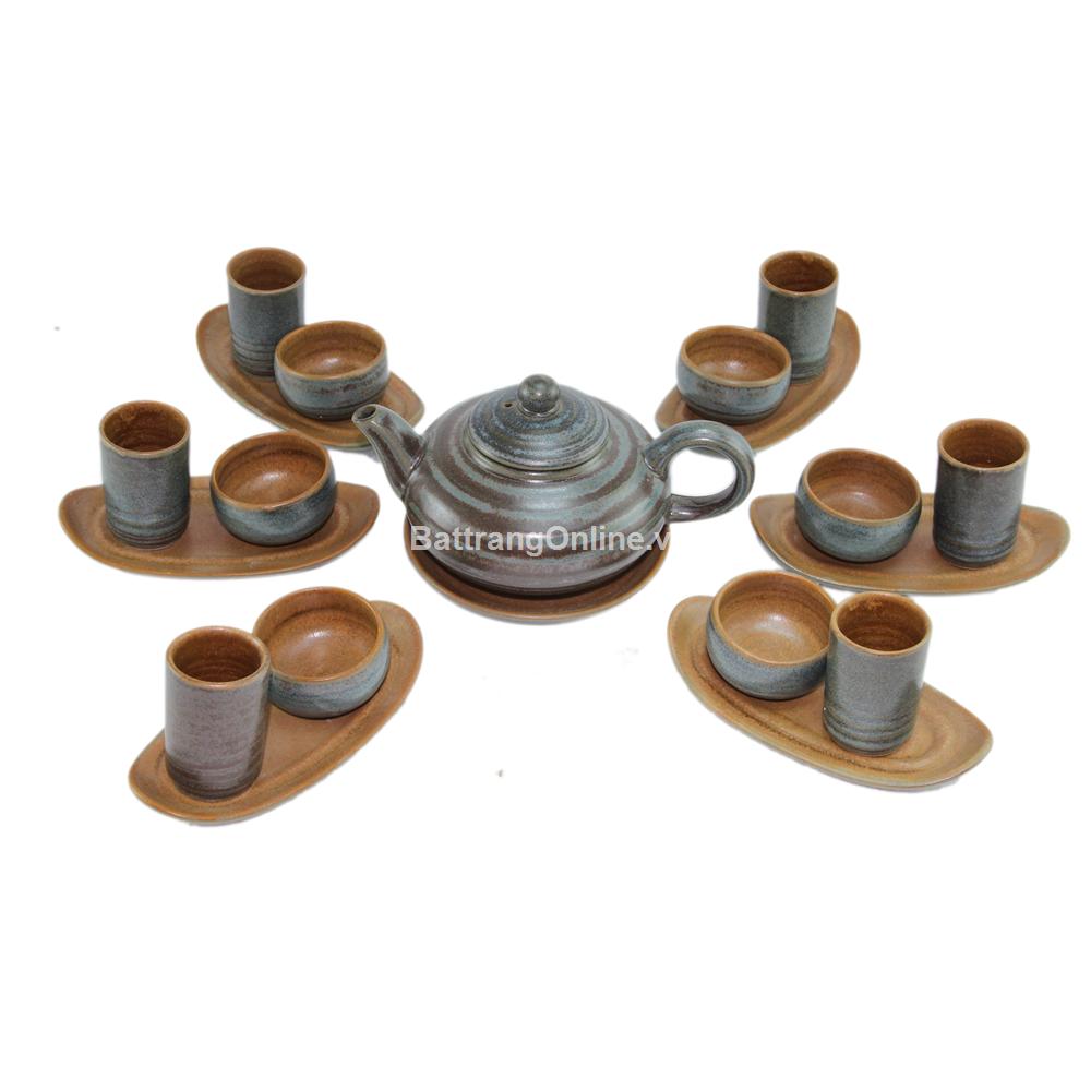 Bộ ấm chén trà màu rêu