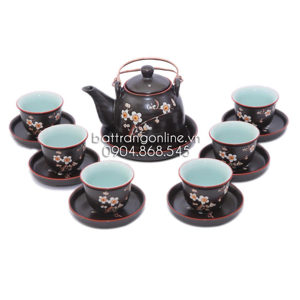 Bộ ấm trà dáng vuốt khắc hoa mai