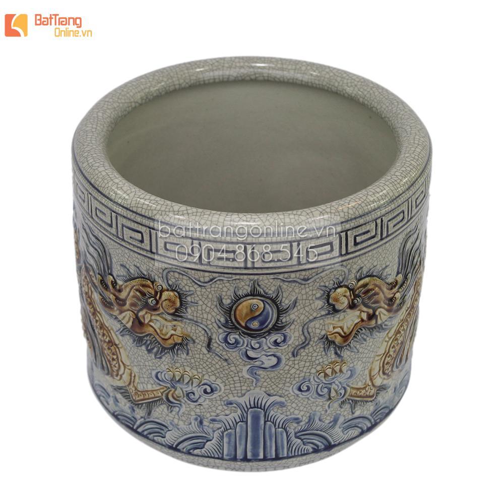 Bát hương Rồng nổi - men rạn cổ - đường kính 12 - cao 10 cm