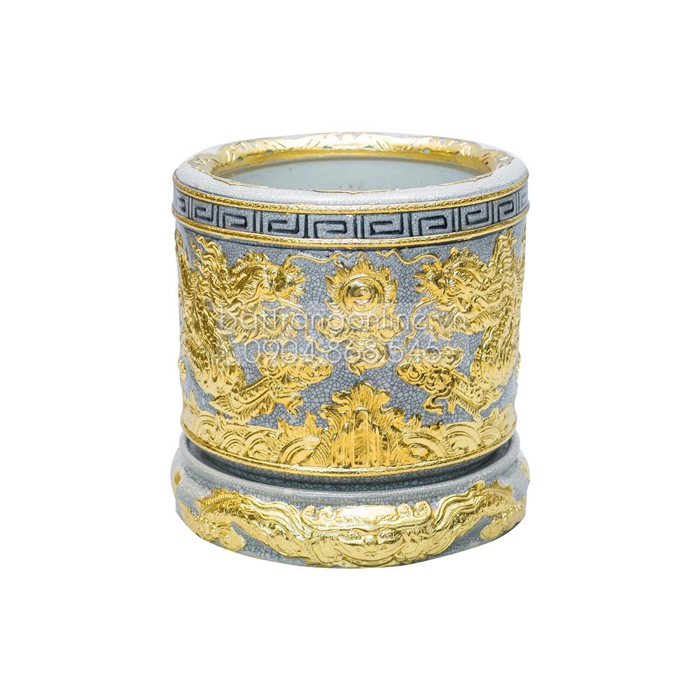 Bát hương rồng dát vàng đường kính 25cm