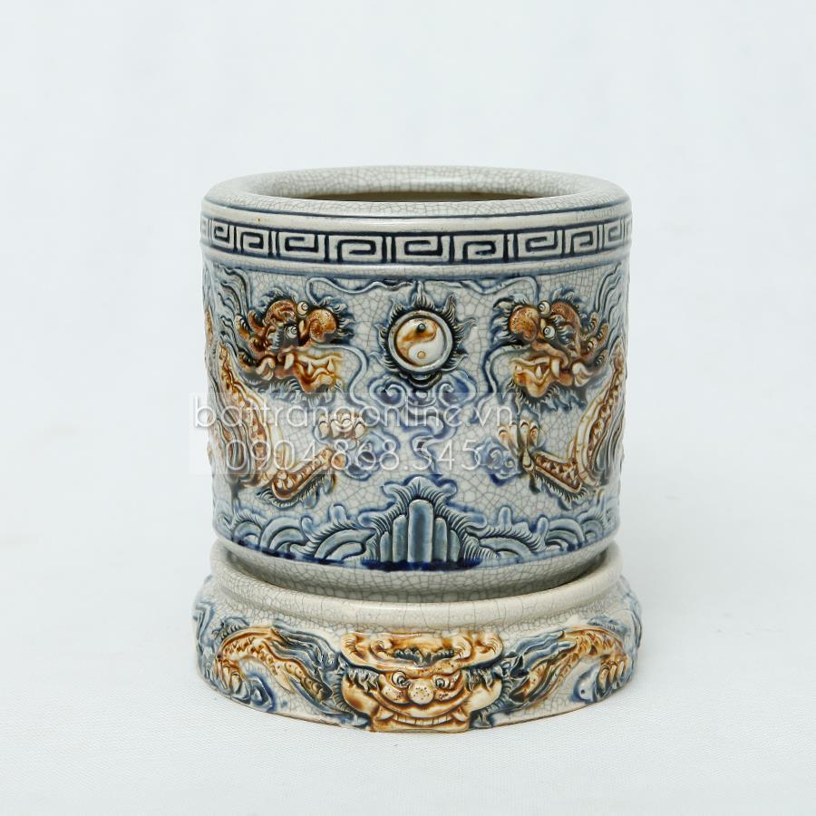 Bát hương Rồng nổi - men rạn cổ - đường kính 14cm
