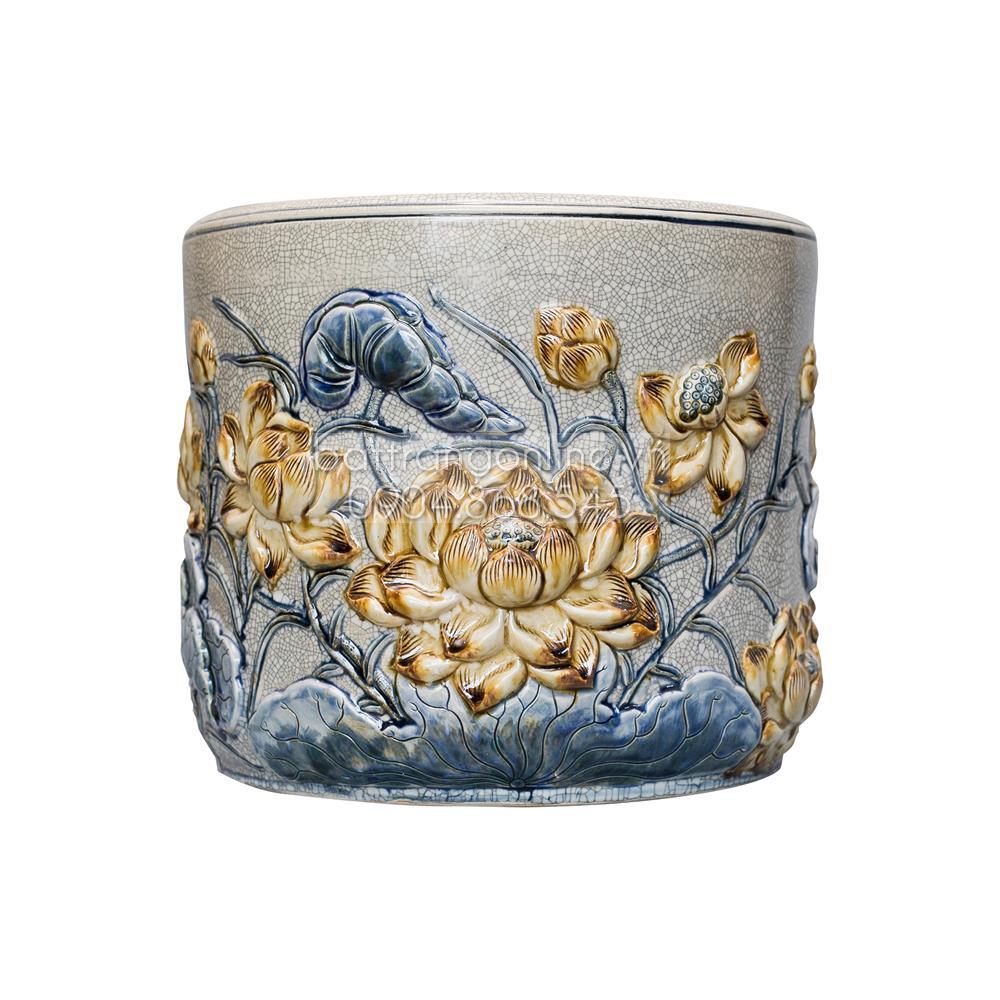 Bát hương Sen - men rạn cổ - đường kính 18 cm