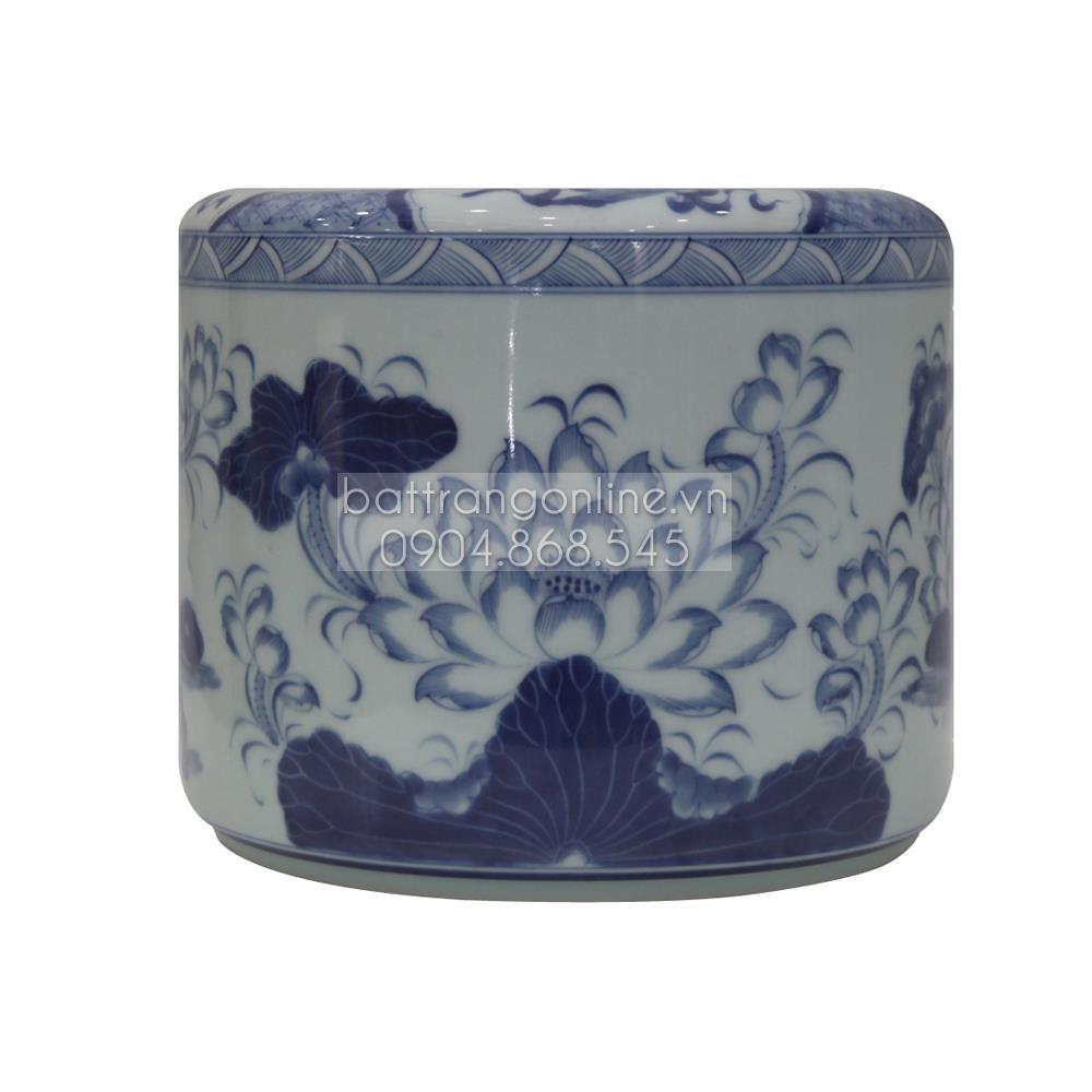 Bát hương vẽ sen men lam - đường kính 16cm