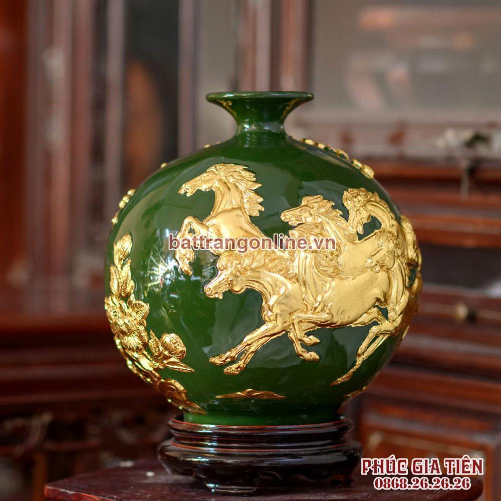 Bình hút lộc mã đáo thành công dát vàng nền xanh lá cao 28cm