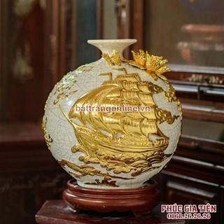 Bình hút lộc thuận buồm xuôi gió men rạn dát vàng cao 30cm