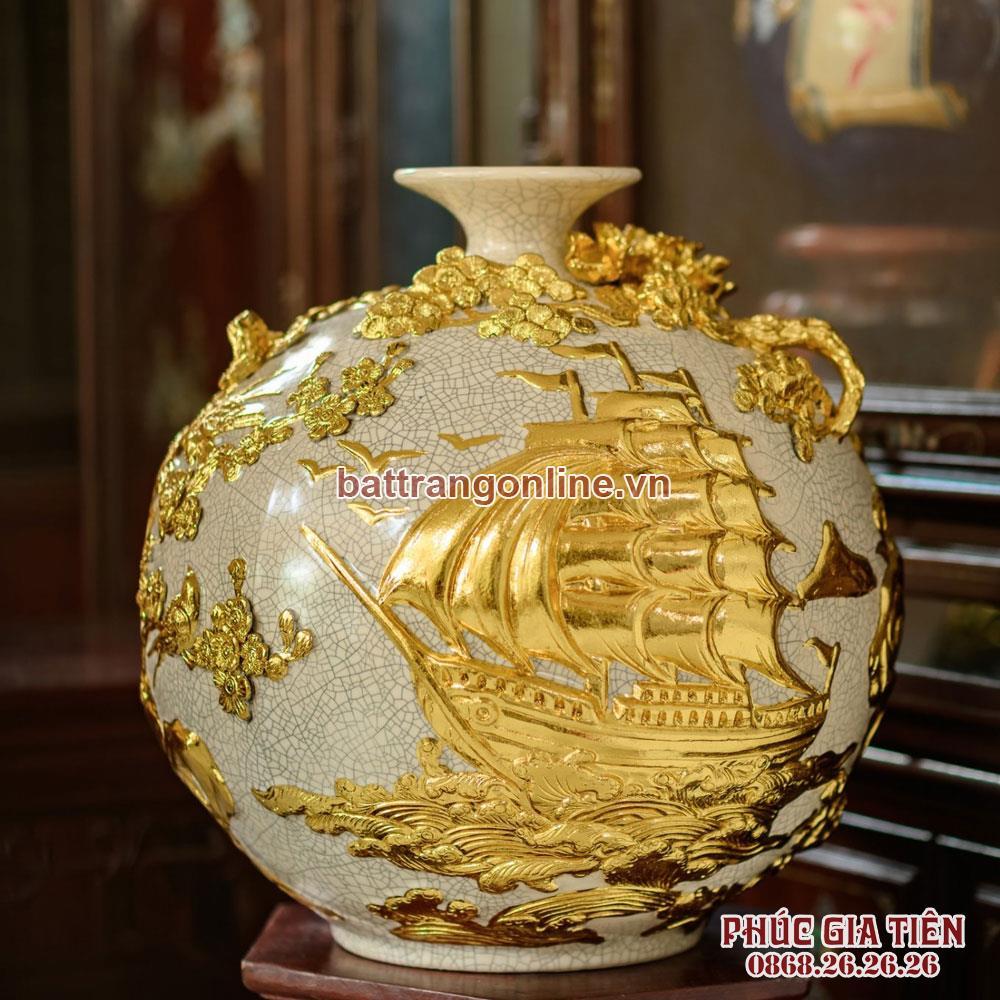 Bình hút lộc thuận buồm xuôi gió dát vàng men rạn cao 41cm