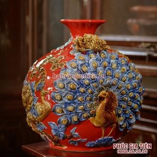 Bình hút lộc công đào phú quý nền đỏ cao 38cm