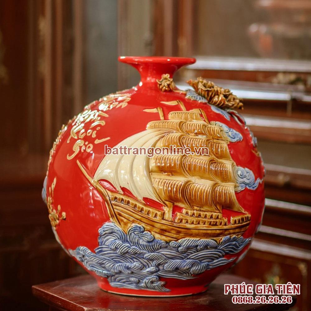 Bình hút lộc Thuận buồm xuôi gió nền đỏ cao 30cm