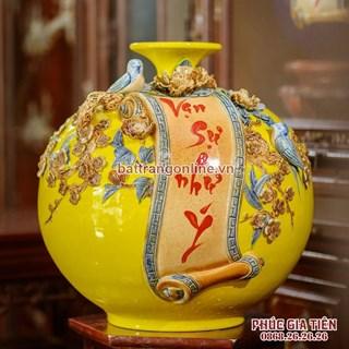 Bình hút lộc vạn sự như ý nền vàng cao 41cm