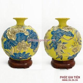 Bình hút lộc vẽ vàng cá chép hoa sen nền vàng H35cm