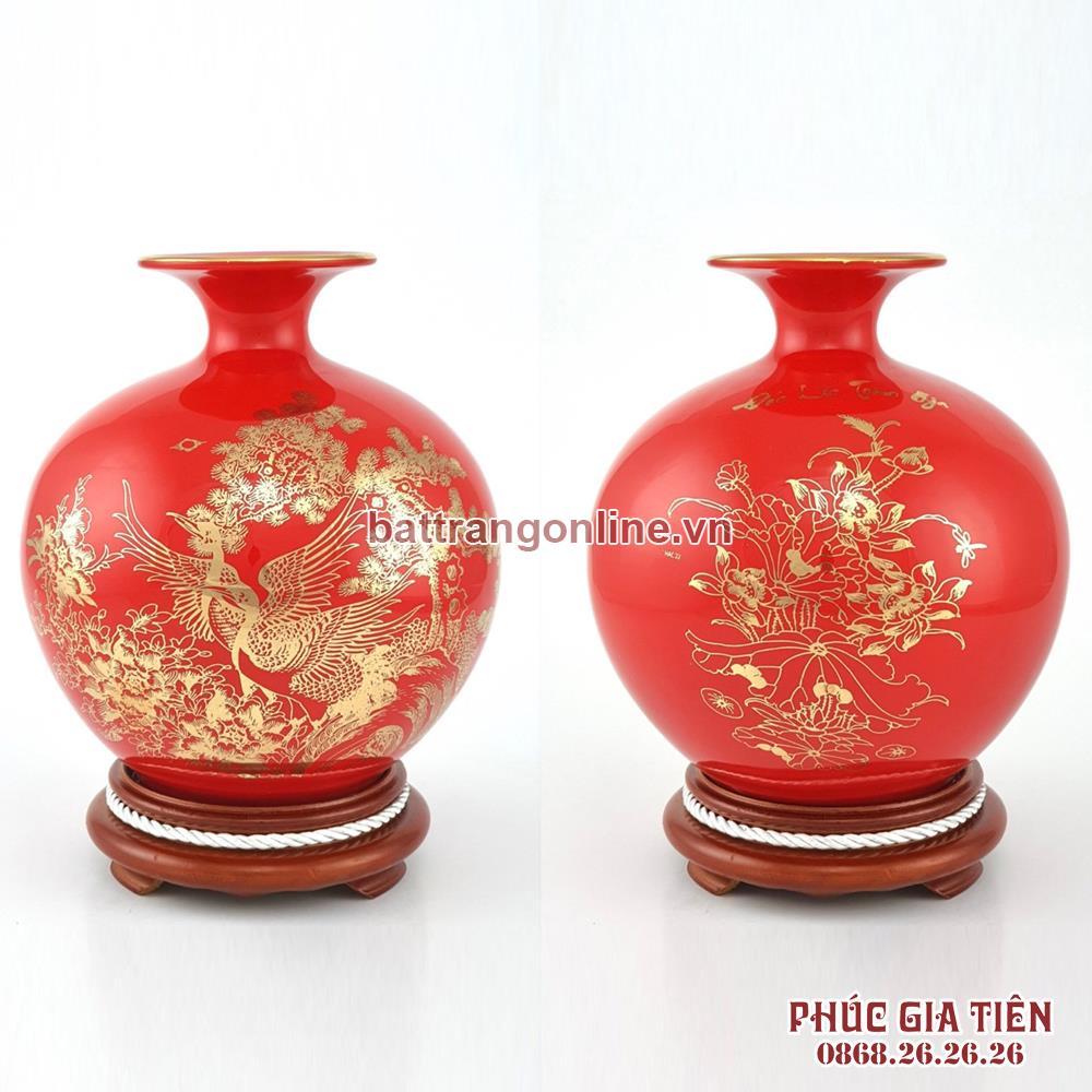 Bình hút lộc vẽ vàng cảnh tùng hạc nền đỏ cao 26cm