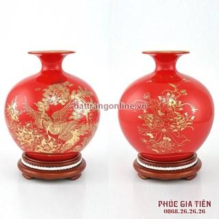 Bình hút lộc vẽ vàng cảnh tùng hạc nền đỏ cao 36cm