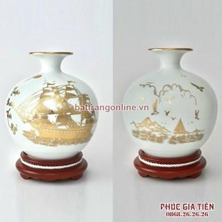 Bình hút lộc vẽ vàng Thuận Buồm Xuôi Gió cao 22cm