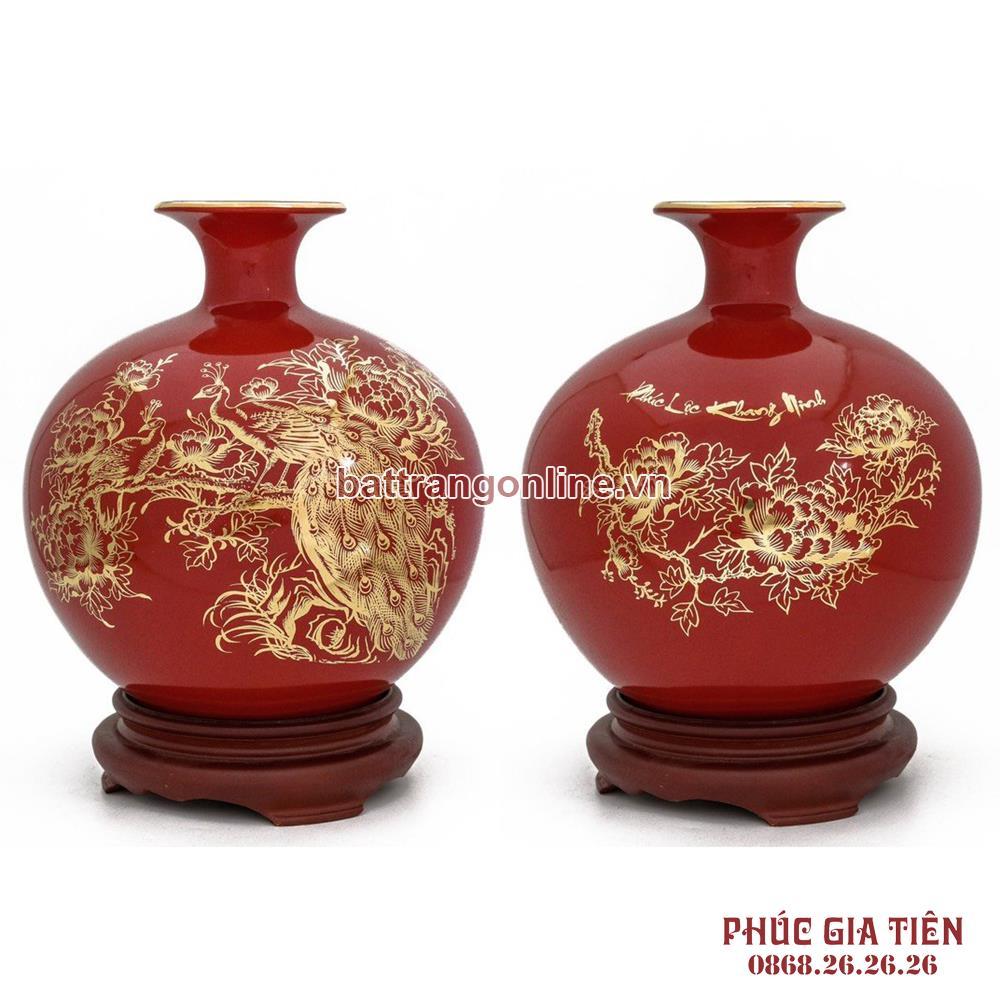 Bình hút lộc vẽ vàng chim công hoa mẫu đơn nền đỏ H30cm
