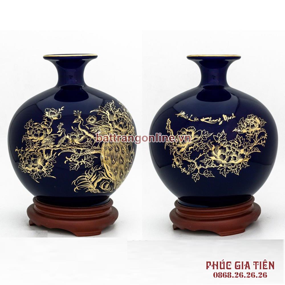 Bình hút lộc vẽ vàng chim công hoa mẫu đơn nền xanh coban H30cm