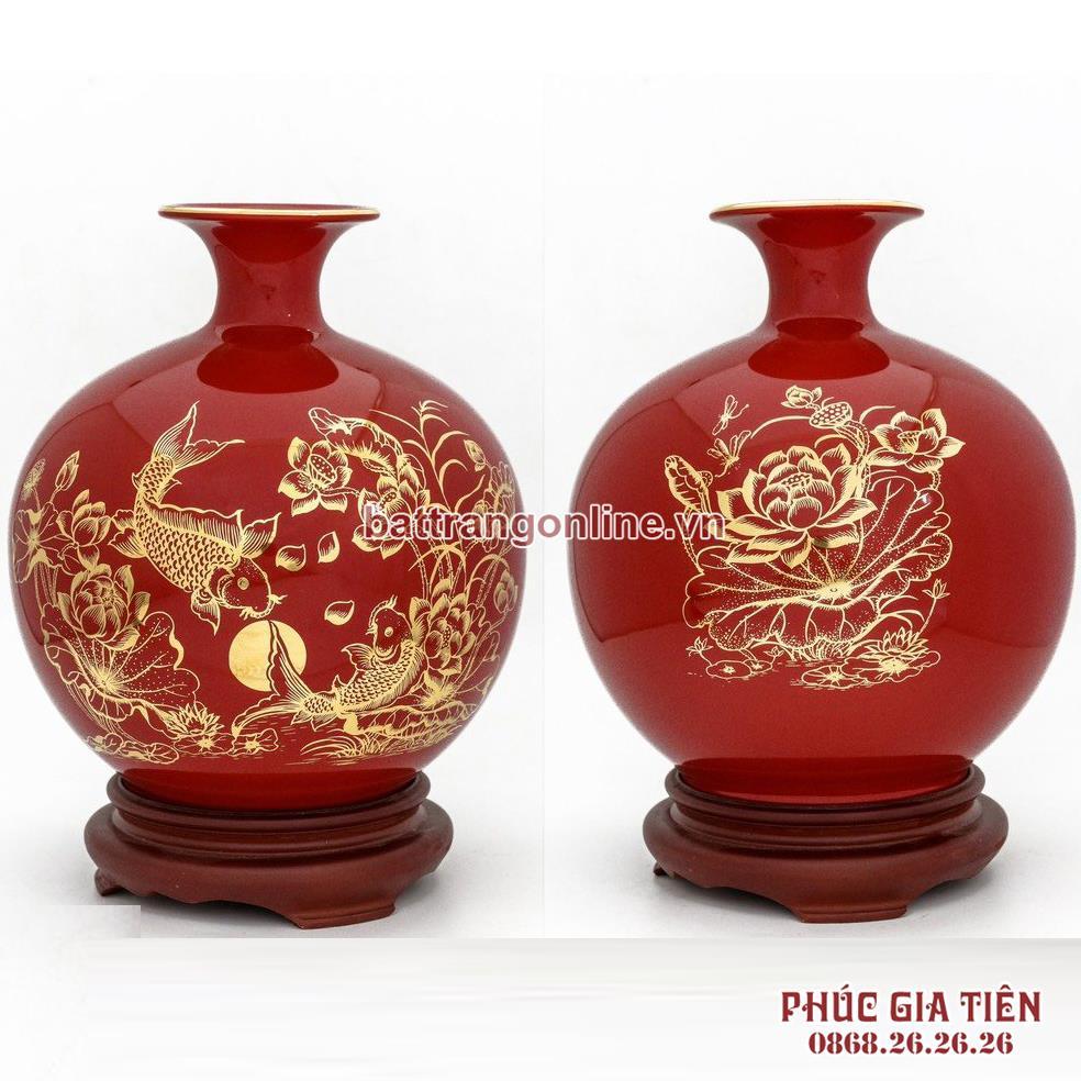 Bình hút lộc vẽ vàng lý ngư vọng nguyệt nền đỏ H35cm