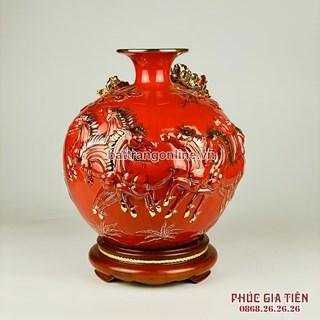 Bình hút lộc vẽ vàng mã đáo thành công nền đỏ cao 30cm