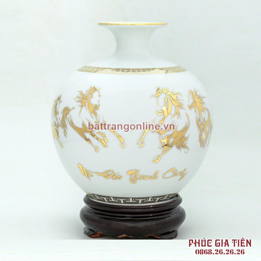 Bình hút lộc vẽ vàng mã đáo thành công nền trắng H35cm