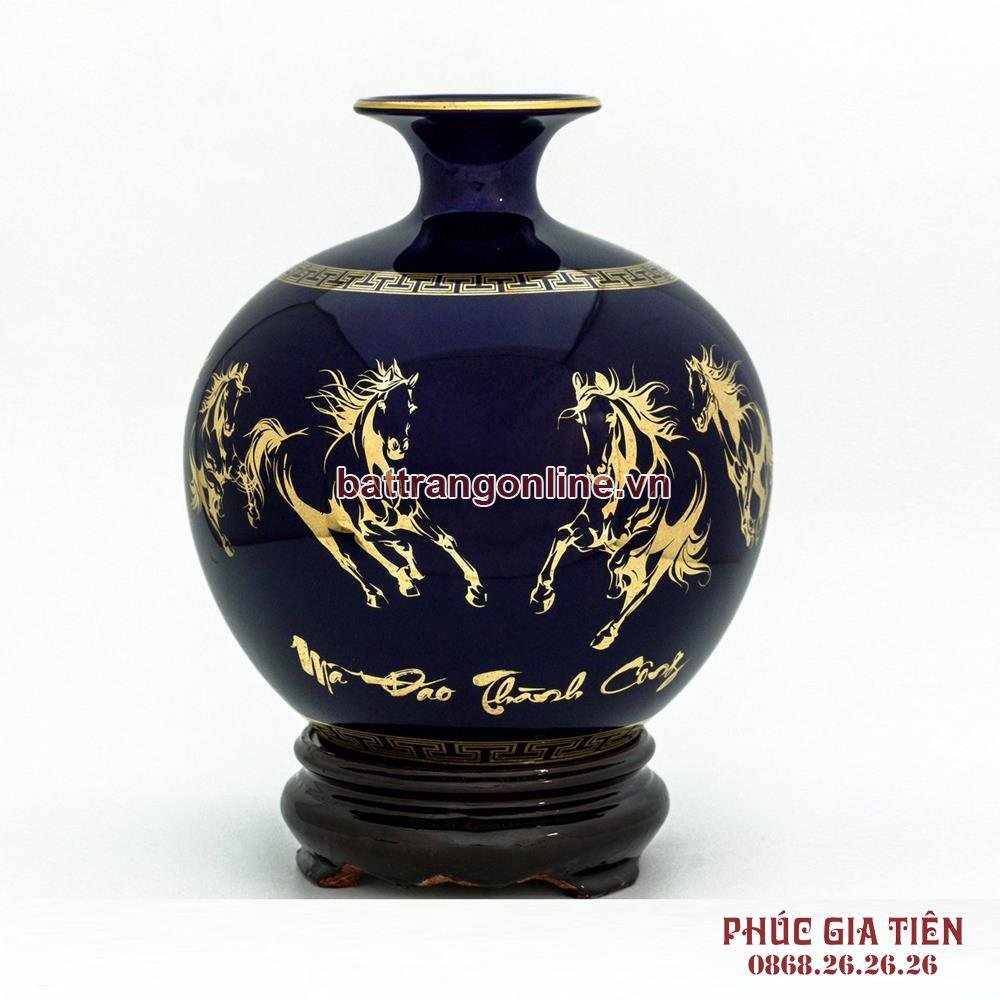 Bình hút lộc vẽ vàng mã đáo thành công nền xanh coban H35cm