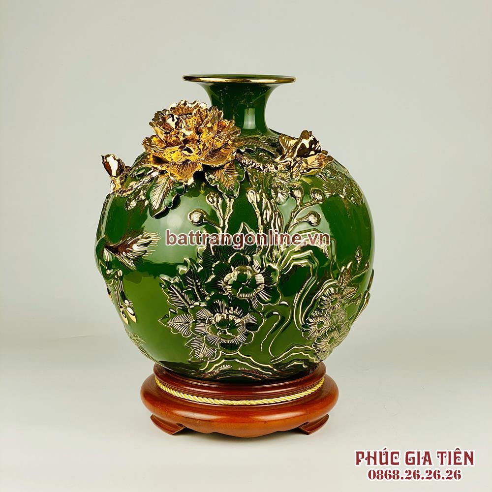 Bình hút lộc vẽ vàng mã đáo thành công nền xanh ngọc lục bảo cao 30cm