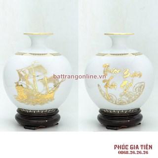Bình hút lộc thuận buồm xuôi gió vẽ vàng, cao 35cm