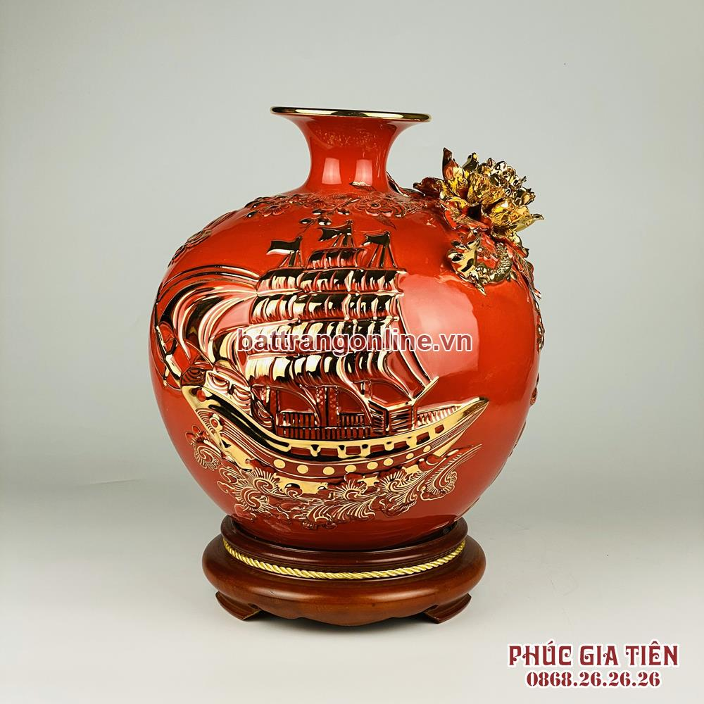 Bình hút lộc vẽ vàng thuận buồm xuôi gió nền đỏ cao 30cm