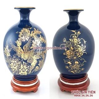 Bình hút lộc vẽ vàng cảnh tùng hạc nền xanh coban cao 26cm