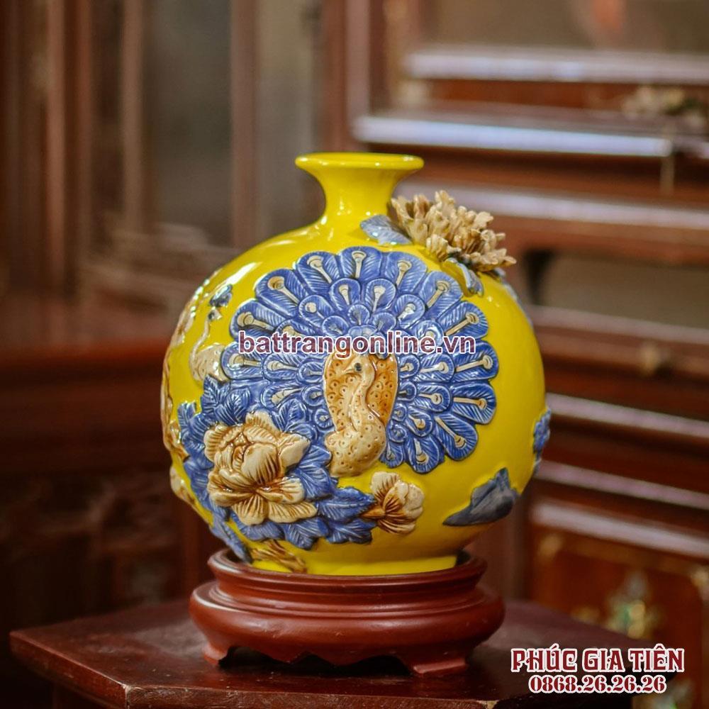 Bình hút lộc công danh phú quý, nền vàng, cao 20cm