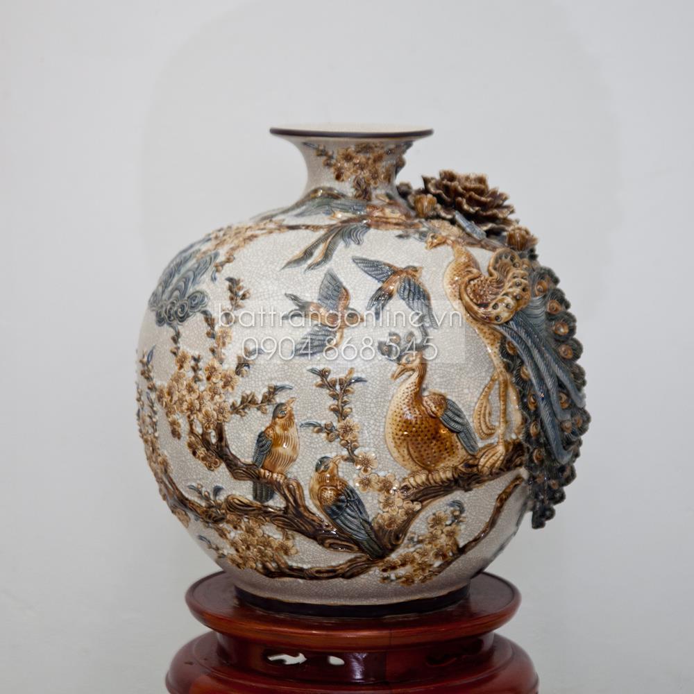 Bình hút tài lộc đắp nổi phú quý thành danh - men rạn cổ - cao 40cm