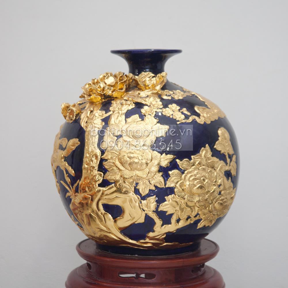 Bình hút tài lộc đắp nổi mã đáo thành công dát vàng tây - cao 40cm
