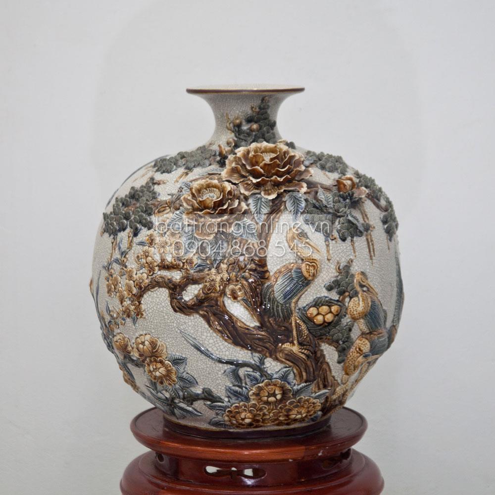 Bình hút tài lộc phú quý thành danh - men rạn cổ - cao 40cm