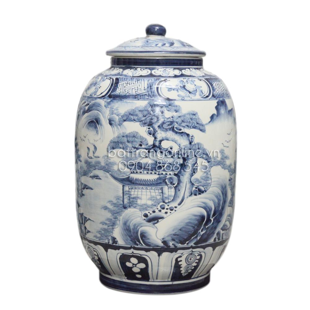 Bình ngâm rượu vẽ sơn thủy - men xanh - 20 lít