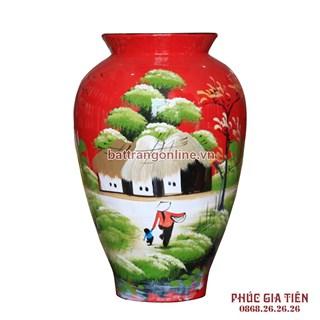 Bình sơn mài đùi dế vẽ cảnh đồng quê nền đỏ cao 28cm
