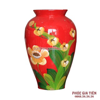Bình sơn mài đùi dế vẽ hoa đỏ cao 28cm