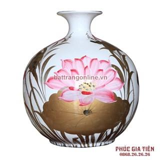 Bình sơn mài hút lộc vẽ hoa sen nền trắng cao 36cm
