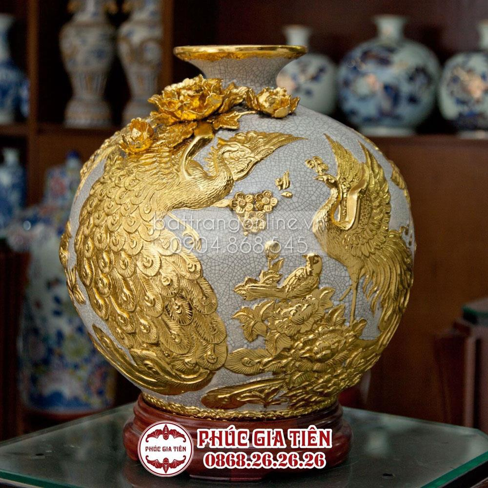 Bình hút tài lộc đắp nổi phú quý thành danh dát vàng tây - cao 40cm