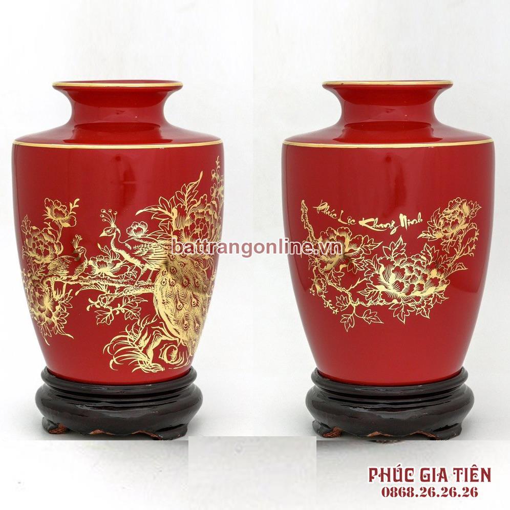 Bình vẽ vàng chim công mẫu đơn, nền đỏ, cao 22cm