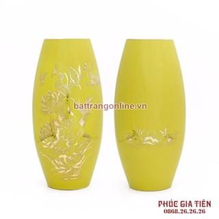Bình cắm hoa vẽ cá chép nền vàng, cao 3cm