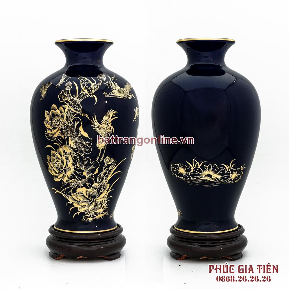 Binh ve vang hoa sen mau xanh cao 30cm