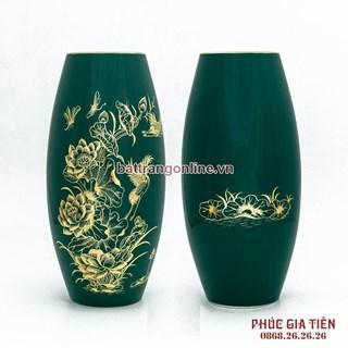 Bình vẽ vàng hoa sen, màu xanh cao 30cm