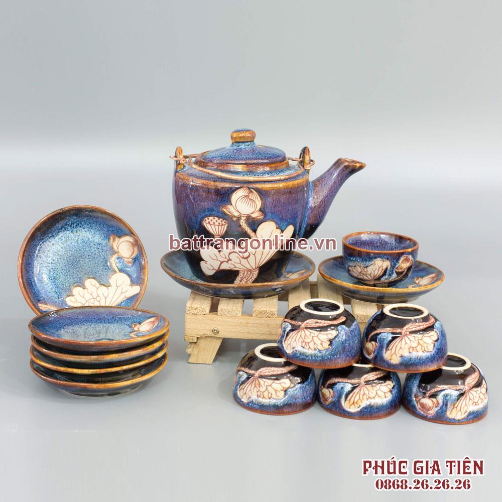 Bộ trà dáng vuông men màu xanh biển
