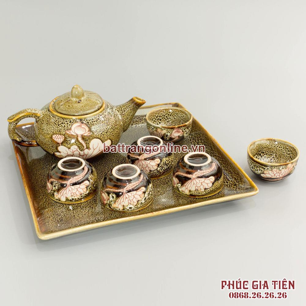 Bộ trà dáng tròn men màu gấm vàng và khay sứ