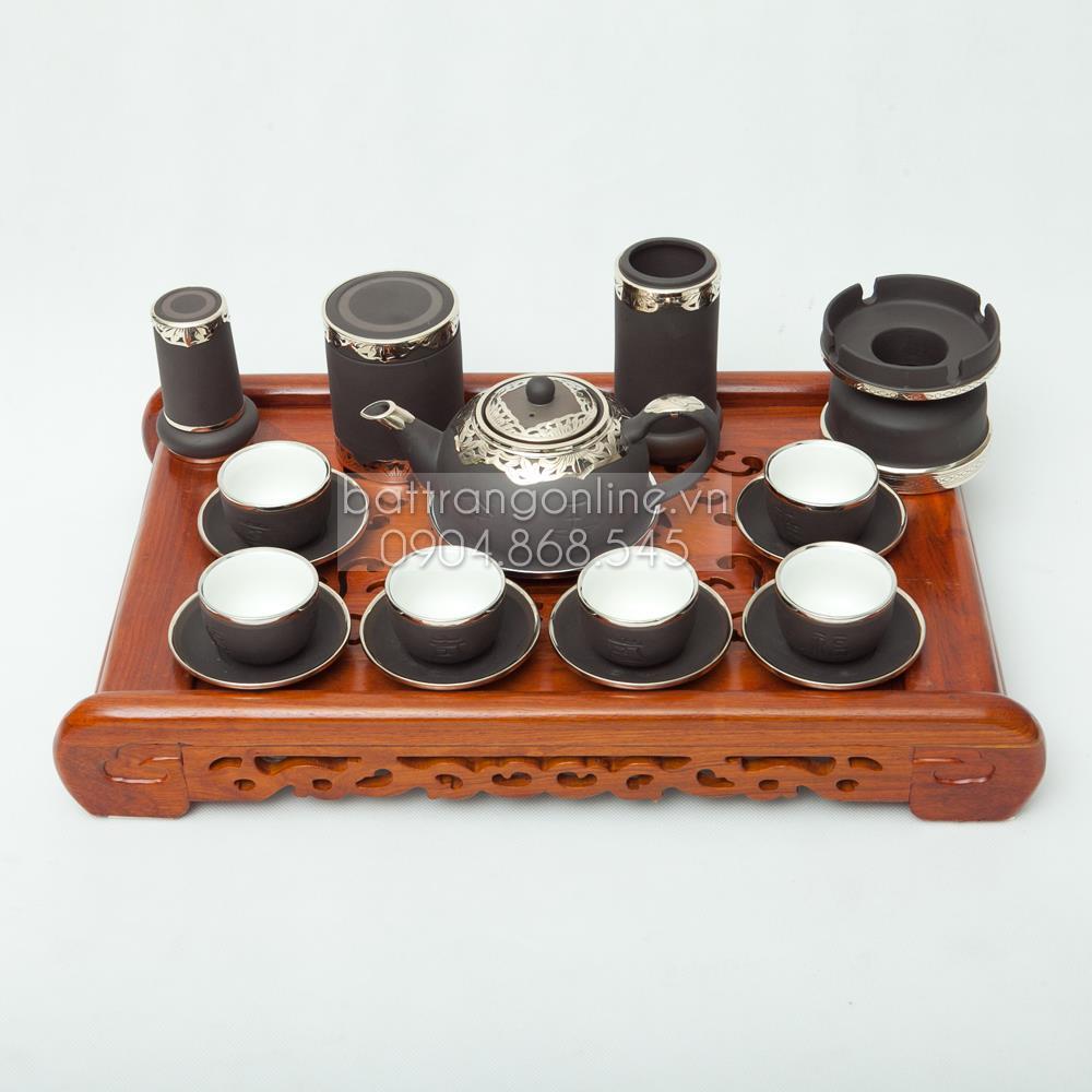 Bộ ấm pha trà Phúc Lộc Thọ gốm đen - đầy đủ phụ kiện và khay gỗ hương- bọc đồng cao cấp