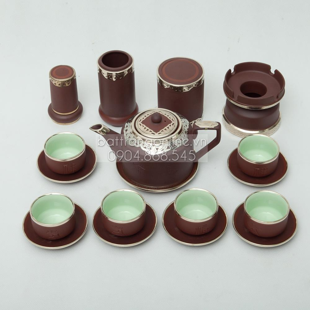 Bộ ấm pha trà gốm nâu vai vuông - đầy đủ phụ kiện - bọc đồng nghệ nhân cao cấp