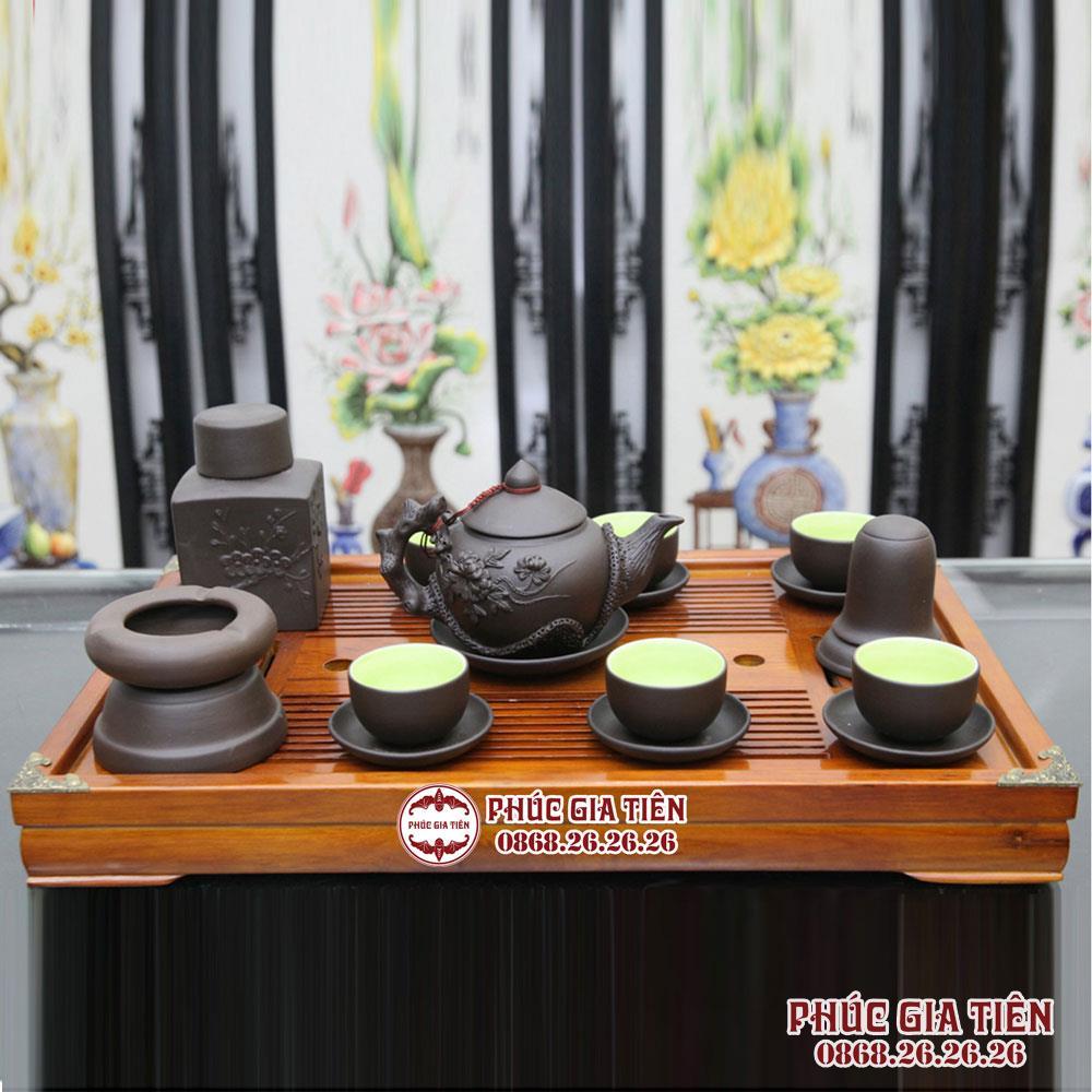 Bộ ấm chén gốm đen, đắp nổi hoa phù dung, đầy đủ phụ kiện và khay